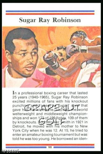 1981 True Value Hardware Sugar Ray Robinson Card Rare