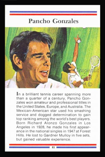 1981 True Value Hardware Pancho Gonzales Tennis Card