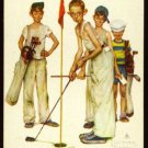 NORMAN ROCKWELL FOUR SPORTING BOYS OLD SINGLE PLAYING SWAP COLLECTIBLE GOLF CARD
