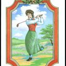 FRAMED GOLF GIRL WILLIAM EARLE ARTIST SINGLE PLAYING SWAP COLLECTIBLE GOLF CARD