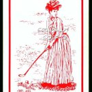 VINTAGE GOLF GIBSON TYPE GIRL ART RED SINGLE PLAYING SWAP COLLECTIBLE GOLF CARD