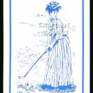 VINTAGE GOLF GIBSON TYPE GIRL ART BLUE SINGLE PLAYING SWAP COLLECTIBLE GOLF CARD