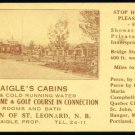 DAIGLES CABIN CHEERIO CAMP OLD EARLY VINTAGE UNLISTED SCARCE TRADE AD GOLF CARD