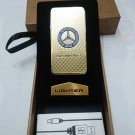 Mercedes Binz Gold USB Rechargeable Wind Proof Flame less Lighter