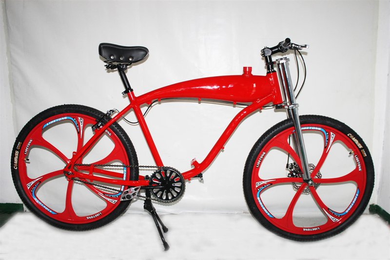 Zeda Angel Roller V2 Engine-Ready Motorized Bicycle - Built In Gas Tank- Red