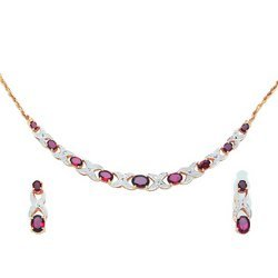 Garnet and Diamond Necklace and Matching Earrings