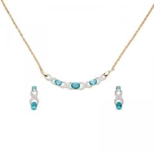 Blue Topaz and Diamond Necklace and Earring Set