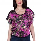 Purple Top with Gold Foil Abstract Design All Black Lace Back Size S M L or XL