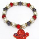 Red Hat Stretch Bracelet Faux Pearls with Red and Purple Beads Hat Charm