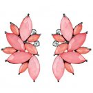Retro 1950's Style Earrings A touch of Pink Acrylic Faceted.Marquise Cut