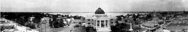 "30"" Wide Black & White Panoramic Photo of  Calcasieu Parish Court House 1923 Lake Charles, LA"