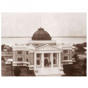 "30"" Wide Sepia Panoramic Photo of Calcasieu Parish Court House 1923 Lake Charles, LA"