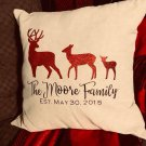 Personalized Deer Family Pillow Cover