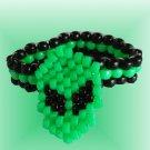 Kandi Bracelet w/ Attached Alien Neon Green Face EDCLV
