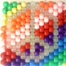 Rainbow Kandi Cuff Bracelet with Glow Peace Sign EDCLV