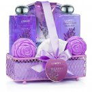 Home spa Gift Basket-Lavendar &Jasmine Scent- Luxurious 8 Piece Bath & Body Set