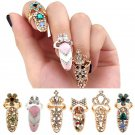 Women Elegant Bowknot Nail Ring Charm Crown Flower Crystal Finger Nail Rings