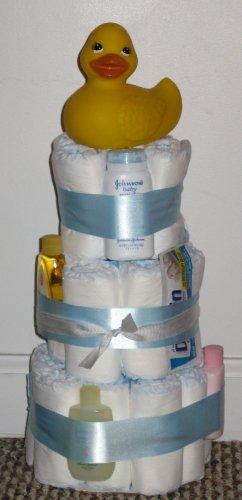 Boy's Size 1 Diaper Cake w/ Ducky Topper
