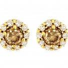 Chocolate Diamond Stud 14k Yellow Gold Earrings