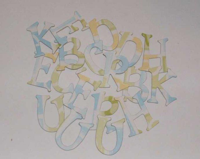 Scrapbooking Chipboard Fun Serif Alphabet - Yellow/Blue/Green
