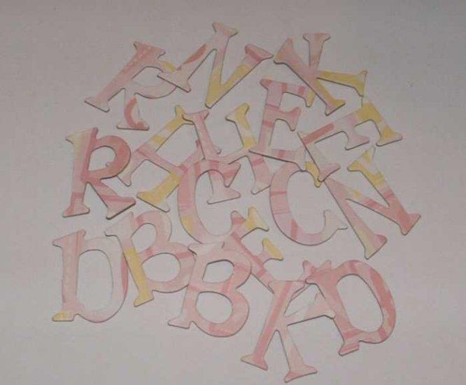 Scrapbooking Chipboard Fun Serif Alphabet - Pink/Yellow