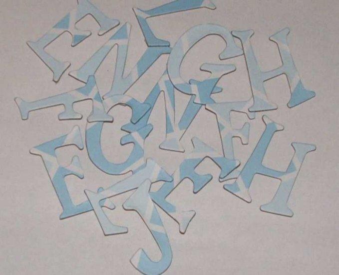 Scrapbooking Chipboard Fun Serif Alphabet - Blue Argyle