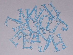 Scrapbooking Chipboard Fun Serif Alphabet - Blue Plaid