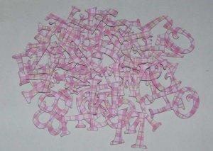 Scrapbooking Chipboard Fun Serif Alphabet - Pink/Green Plaid