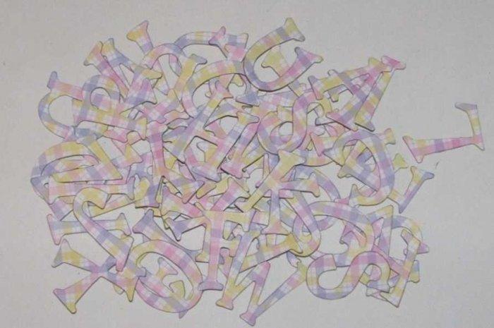 Scrapbooking Chipboard Fun Serif Alphabet - Pink/Yellow Pastel Plaid