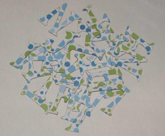 Scrapbooking Chipboard Fun Serif Alphabet - Blue/Green Polka Dots