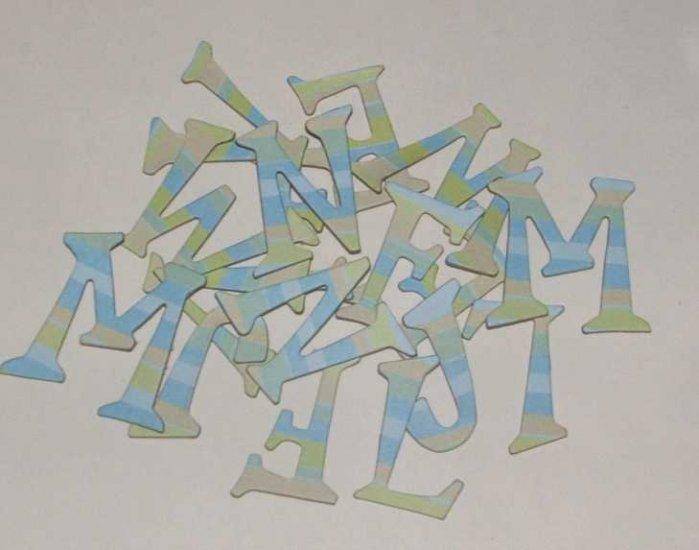 Scrapbooking Chipboard Fun Serif Alphabet - Blue/Green Stripes