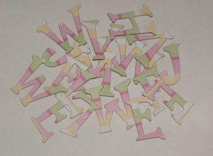 Scrapbooking Chipboard Fun Serif Alphabet - Pink/Yellow/Green Stripes