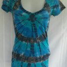 First Love Tied Dyed Plunging V Neck Women's Top Size Small