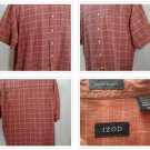 IZOD Burnt Orange Rust Short Sleeve Plaid Men's Shirt Size XL