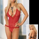 Mesh Open Thong Back Teddy with Lace Trim