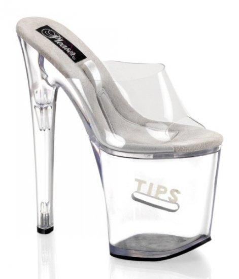 """Women's 8 Inch Clear Hollow Platform Shoes with Clear Strap & Side Coin Slot with """"Tips"""" Glitter"""