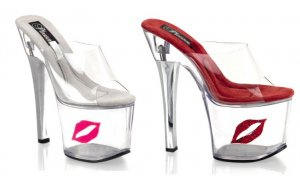 Women's 7 Inch Clear Hollow Platform Shoes with Clear Strap & Lips Shaped Coin Slot