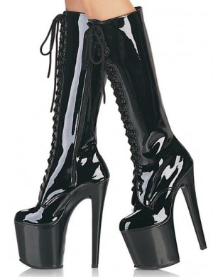 Women's Knee High Boots with Platforms and Spike Heels and Lace Up Front