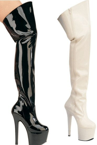 Women's Thigh High Boot with Open Top and Inside Zipper