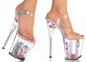 Women's High Platform Heels with Clear Strap with Buckle and Dice and Chips in Platform