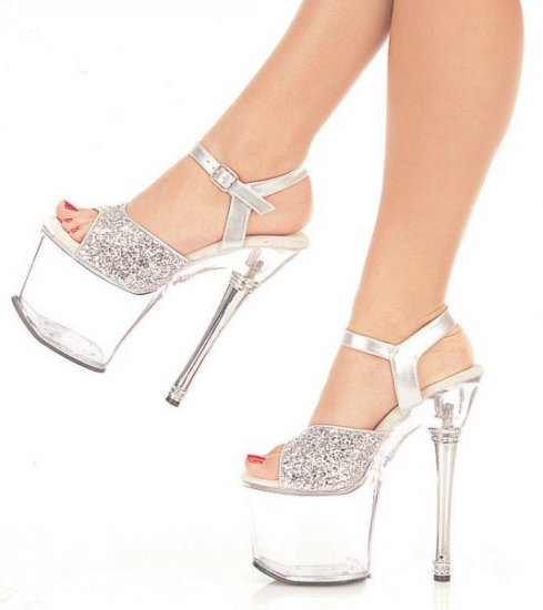 Women's Heeled Shoes with Glitter Straps and Metallic Heel