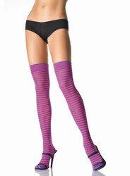 Punk EMO Pinup Girl Stripe Thigh Highs Purple/Fushia Pink-.