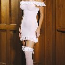 Schoolgirl Sheer Lace Trimmed Dress & Stockings