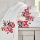 6Pc. white flower design soft bath towel set 100% cotton