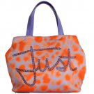ORANGE PURPLE STRASS HAND SHOPPING TOTE BAG