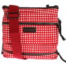 RED DENIM LEATHER CROSSBODY MESSENGER SHOULDER BAG