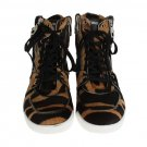 BROWN BLACK PONY HAIR HIGH SNEAKERS
