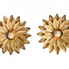 GOLD BRASS FLORAL WHITE PEARL EARRING
