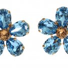 GOLD BRASS FLORAL BLUE CRYSTAL LARGE CLIP ON SICILY EARRING