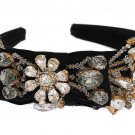 BLACK CRYSTAL SILK BRASS HEADBAND